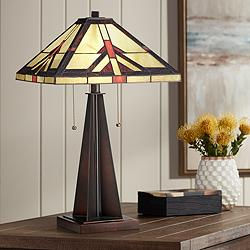 Robert Louis Tiffany Cascade Bronze Table Lamp