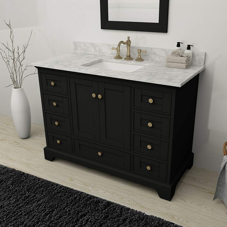 "Audrey 48""W Onyx Black and White Marble Single"