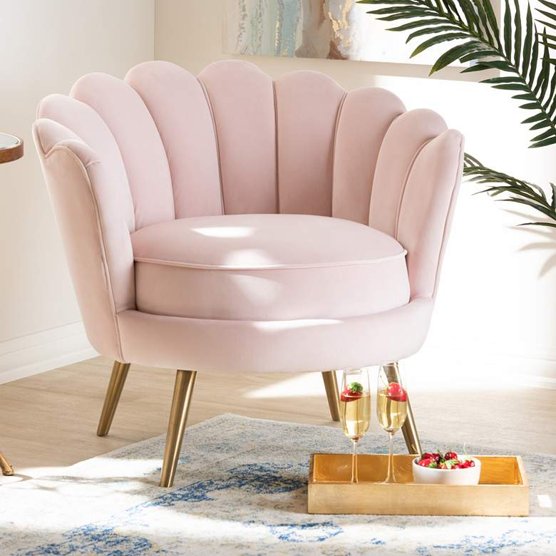 Baxton Studio Cosette Light Pink Seashell Accent Chair