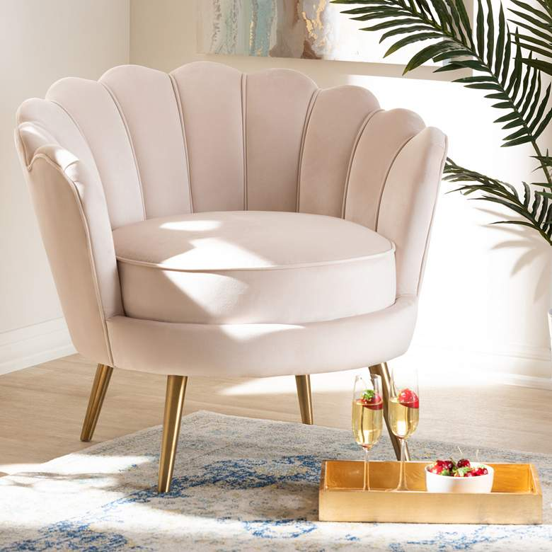 Baxton Studio Cosette Light Beige Seashell Accent Chair