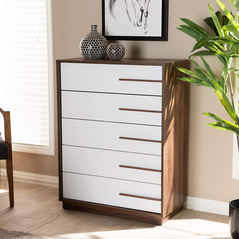 Baxton Studio Mette White and Walnut 5-Drawer Accent