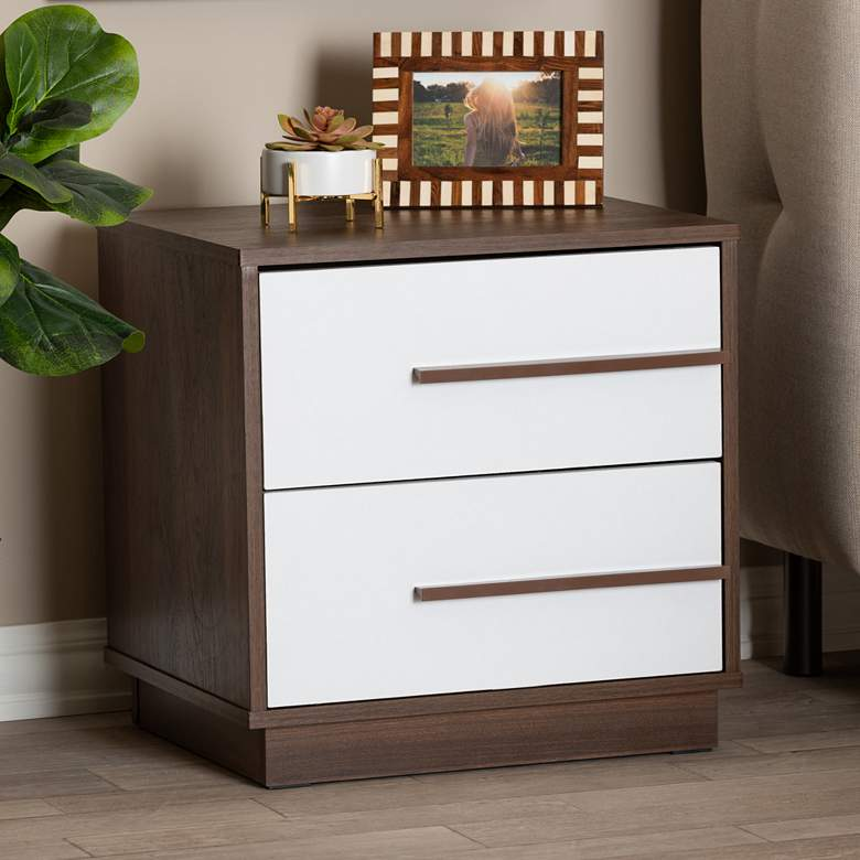 Baxton Studio Mette White - Walnut 2-Drawer Wood