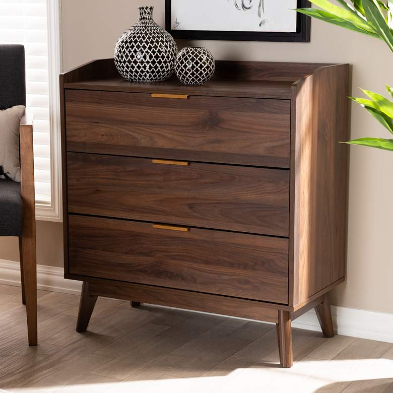 Baxton Studio Lena Walnut Brown 3-Drawer Wood Accent Chest