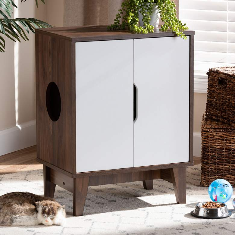 Romy Walnut and White 2-Door Wood Cat Litter Box Cover House