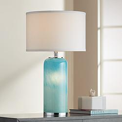 Nimbus Blue Art Glass Accent Table Lamp with Night Light