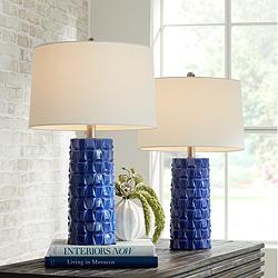 Rico Blue Ceramic Column Table Lamps Set of 2