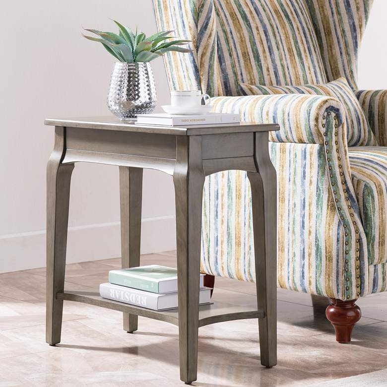 "Leick 12"" Wide Smoke Gray Narrow 1-Shelf Chairside"