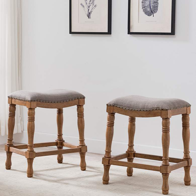 "Leick 25"" Rustic Wood and Linen Saddle Seat Stool Set of 2"