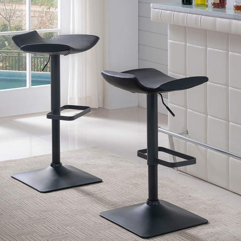 Leick Black Adjustable Height Swivel Bar Stools Set of 2
