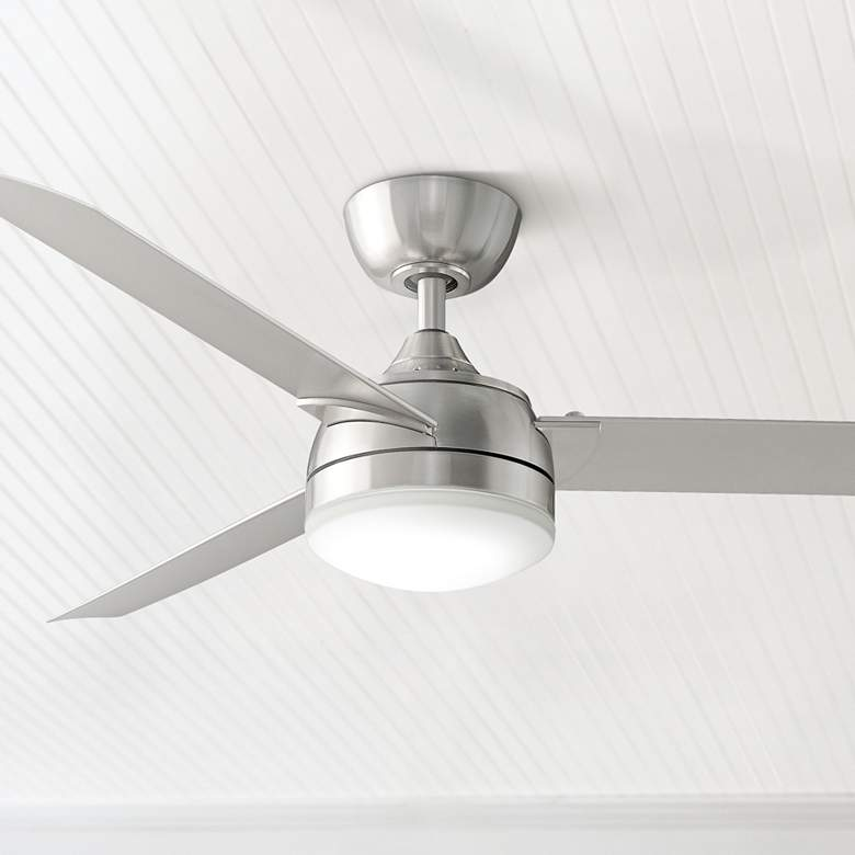 "56"" Fanimation Xeno Brushed Nickel Damp LED Ceiling Fan"