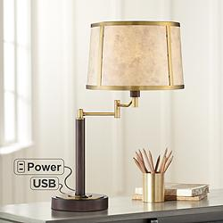 Sophie Swing Arm Table Lamp with USB Port and Power Outlet