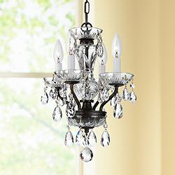 "Traditional Crystal 11"" Wide Bronze 4-Light Mini Chandelier"
