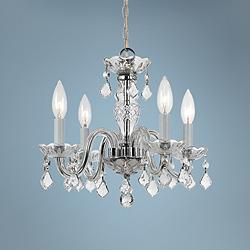 "Traditional Crystal 15"" Wide Chrome 4-Light Chandelier"