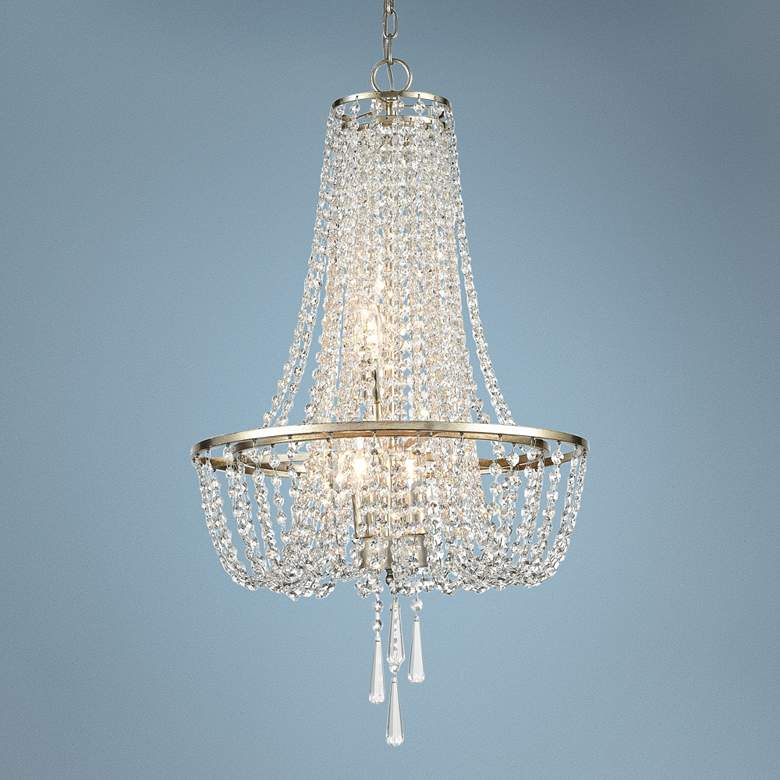 "Crystorama Arcadia 18""W Antique Silver Crystal Chandelier"