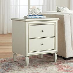Alina 2-Drawer Champagne Silver Side Table