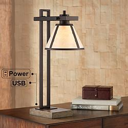 Maricopa Bronze Column Desk Lamp with USB Port and Outlet