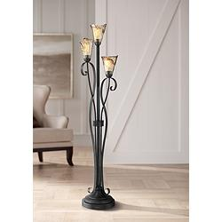 Gardena Black and Amber Glass 3-Light Tree Floor Lamp
