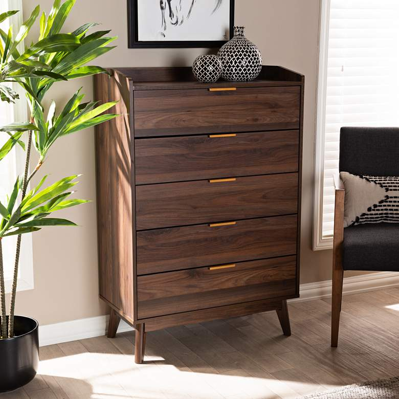 Baxton Studio Lena Walnut Brown 5-Drawer Wood Accent