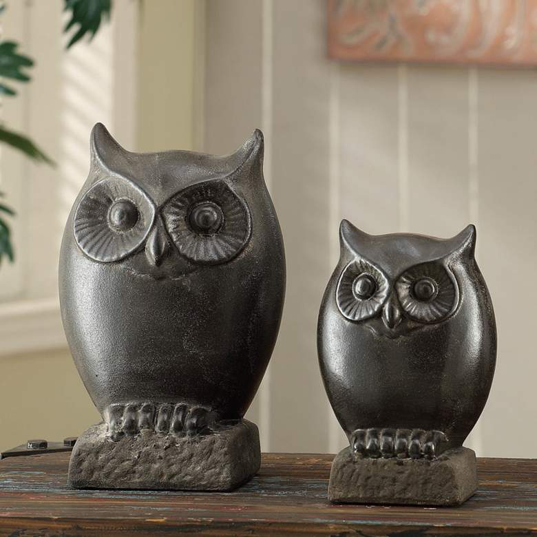 Crestview Collection Night Owl Dark Brown Figurines Set