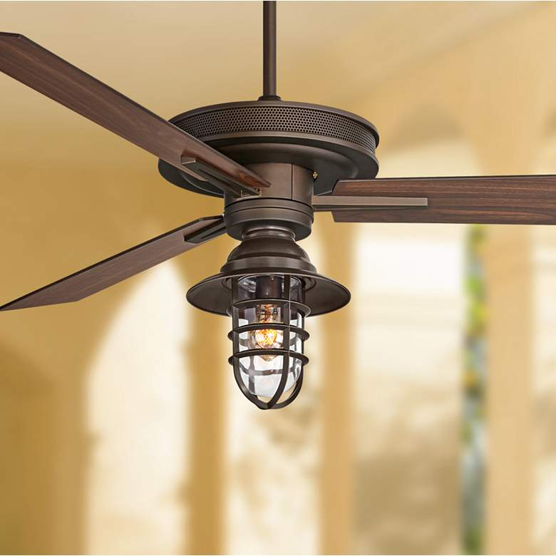 "60"" Taladega Bronze Marlowe Cage Outdoor LED Ceiling Fan"