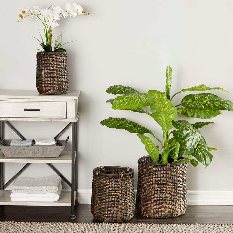 Dark Gray Natural Woven Seagrass Baskets - Set