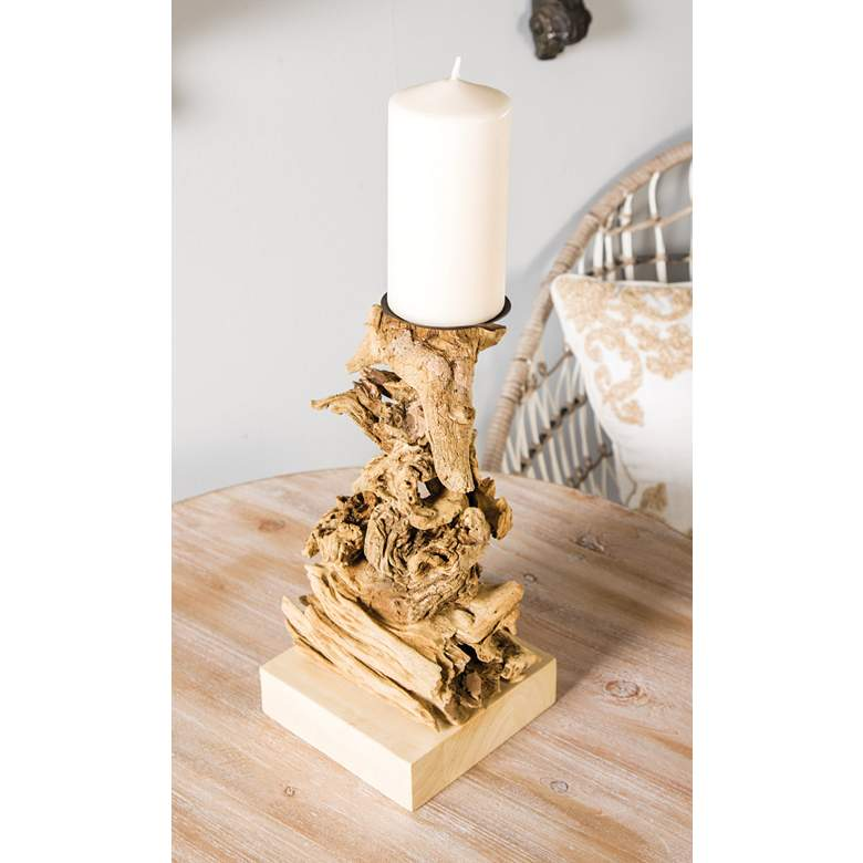 "Stacked Driftwood 12"" High Pillar Candle Holder"