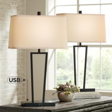 Cole Black Metal Table Lamps with USB Port Set of 2