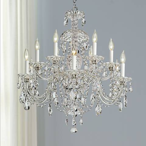 "Schonbek Sterling 29""W Heritage Crystal 12-Light Chandelier"