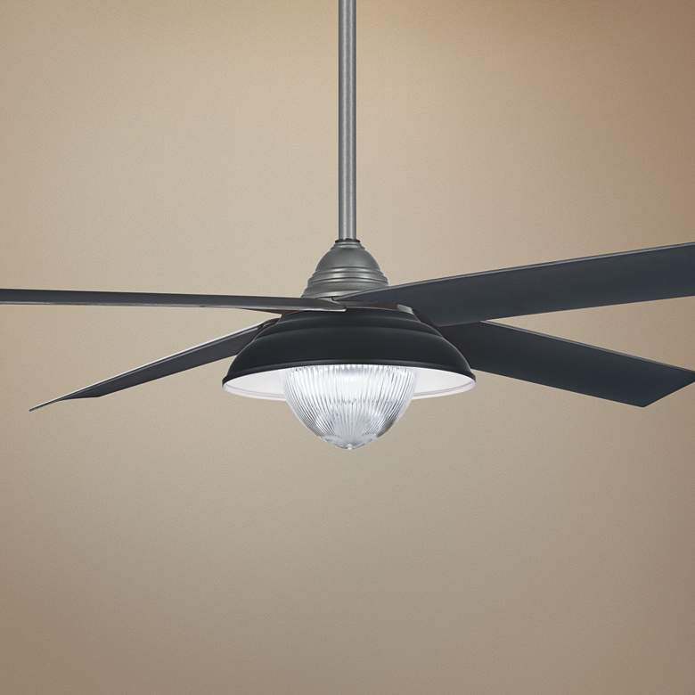 "56"" Minka Aire Shade Gray Iron LED Outdoor Ceiling Fan"