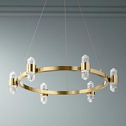 "Elan Arabella 26 1/2"" Wide Gold 12-Light LED Crystal Pendant"