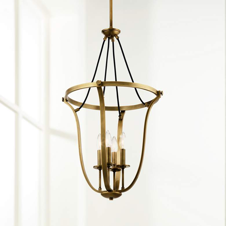 "Kichler Thisbe 17 1/2""W Natural Brass 4-Light Foyer"