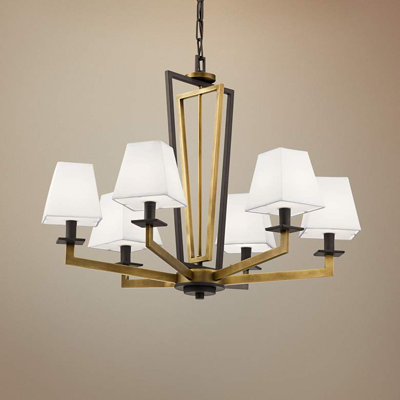 "Kichler Dancar 28"" Wide Natural Brass 6-Light Chandelier"
