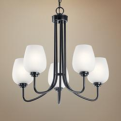 "Kichler Valserrano 24 1/4"" Wide Black 5-Light Chandelier"