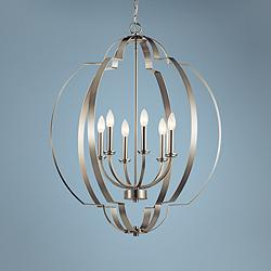 "Voleta 27 3/4"" Wide Brushed Nickel 6-Light Foyer Chandelier"
