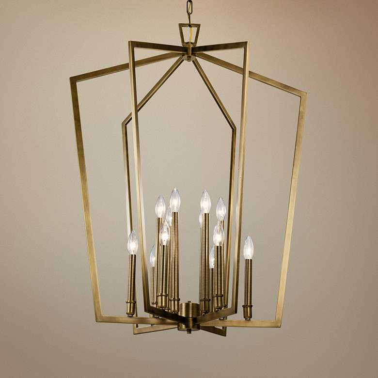 "Abbotswell 30"" Wide Natural Brass 12-Light Foyer Chandelier"