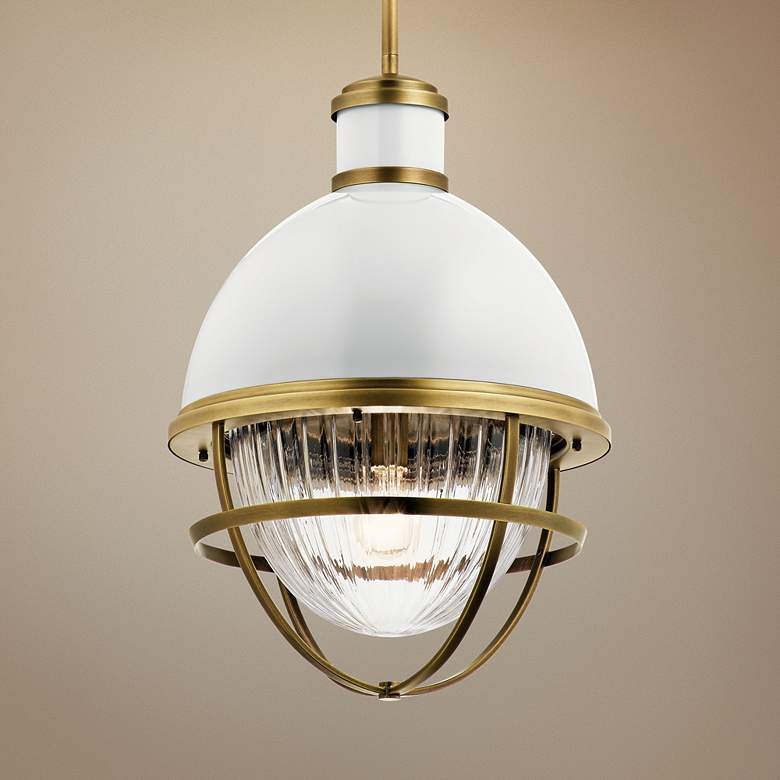 "Kichler Tollis 16"" Wide Natural Brass Foyer Pendant"