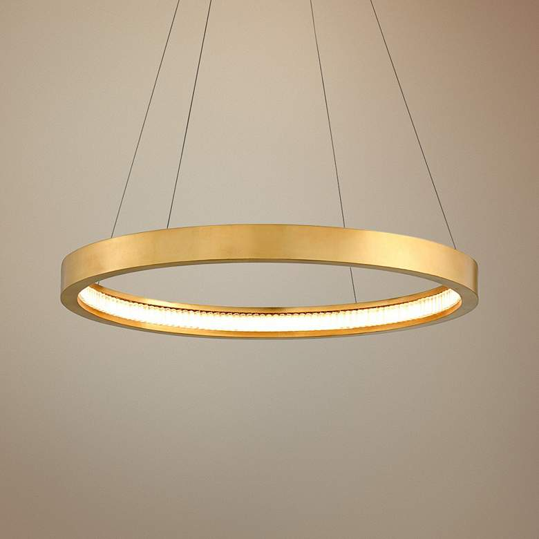 "Corbett Jasmine 28"" Wide Gold Leaf LED Pendant"