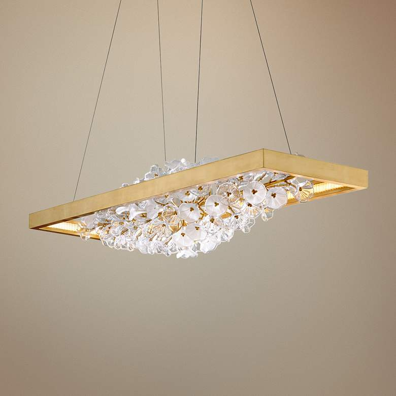 "Jasmine 60""W Gold LED Floral Kitchen Island Light"