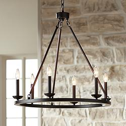 "Myland 27"" Wide Bronze Metal 6-Light Chandelier"