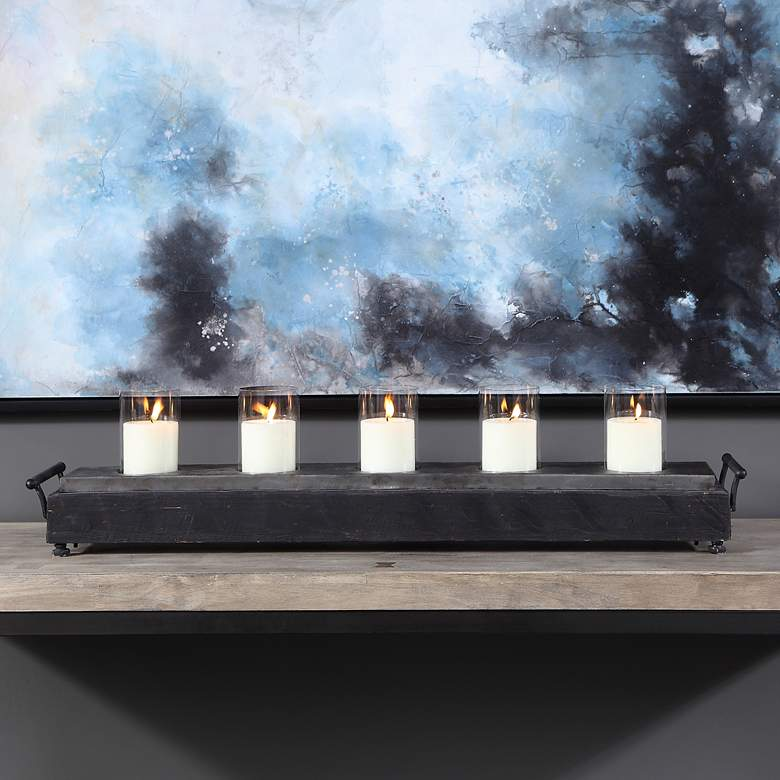 "Cordaro 37"" Wide Dark Charcoal Votive Candle Holder"