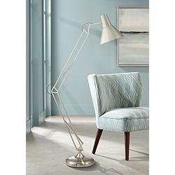 Kinsey Brushed Nickel Adjustable Architect Floor Lamp