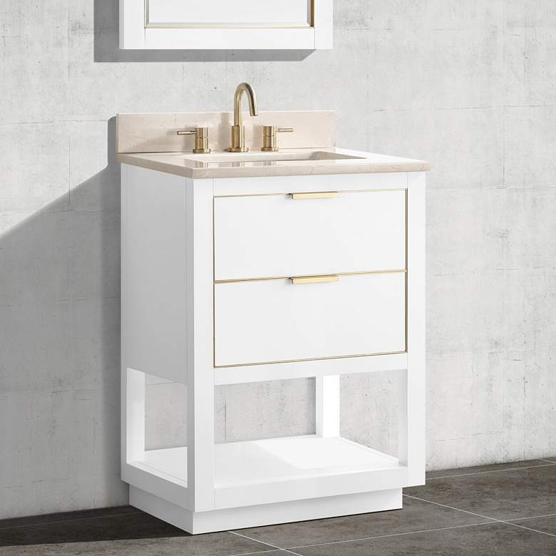 "Allie 25""W White with Crema Marfil Marble Single"