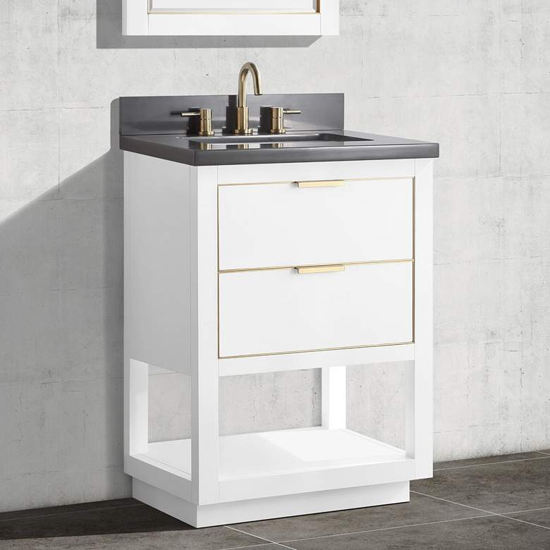 "Allie 25"" Wide White with Gray Quartz Single Sink Vanity"