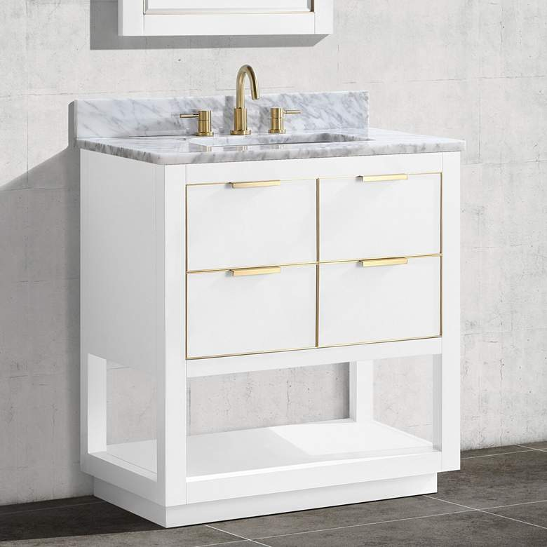 "Allie 31"" Wide White with Carrara Marble Single"