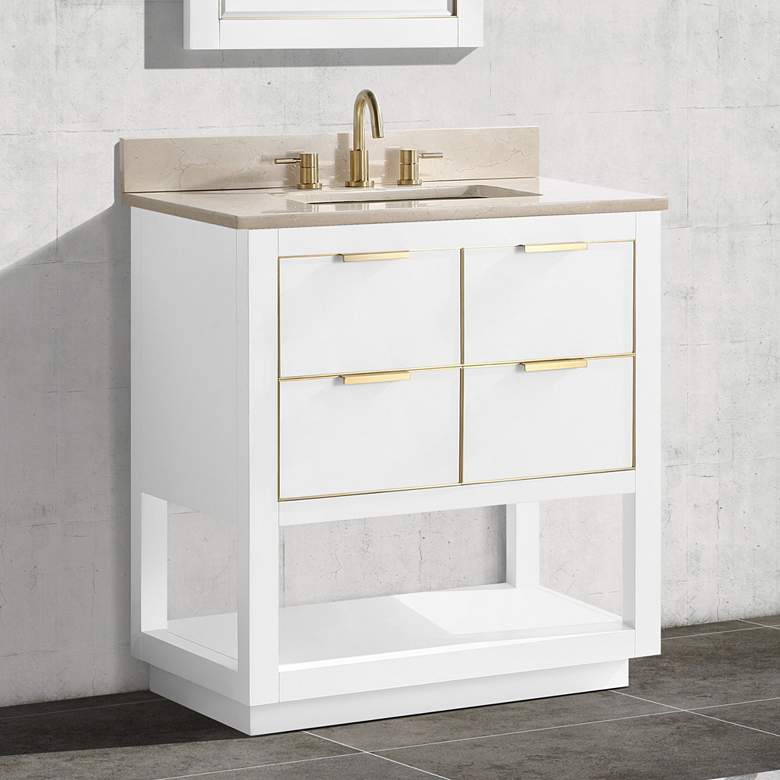 "Allie 31""W White with Crema Marfil Marble Single Sink Vanity"