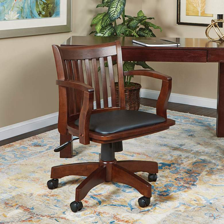 Deluxe Espresso Wood Adjustable Swivel Bankers Desk Chair