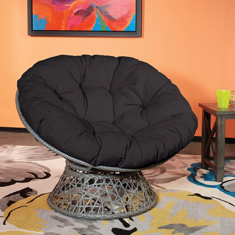 Papasan Black Wicker Swivel Tufted Occasional Chair