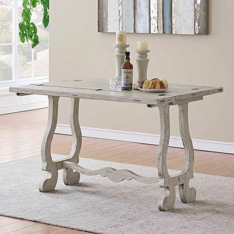 "Orchard Park 48"" Wide White Wood Fold Out Console Table"