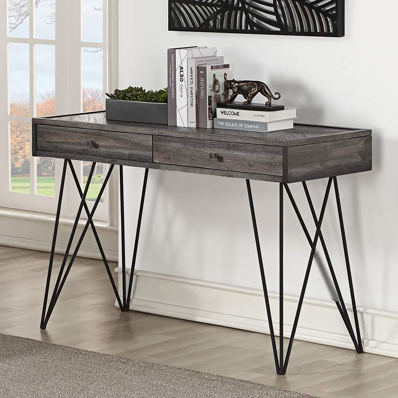 Pleasing Aspen Court 47 Wide Herringbone Wood 2 Drawer Console Table Gmtry Best Dining Table And Chair Ideas Images Gmtryco