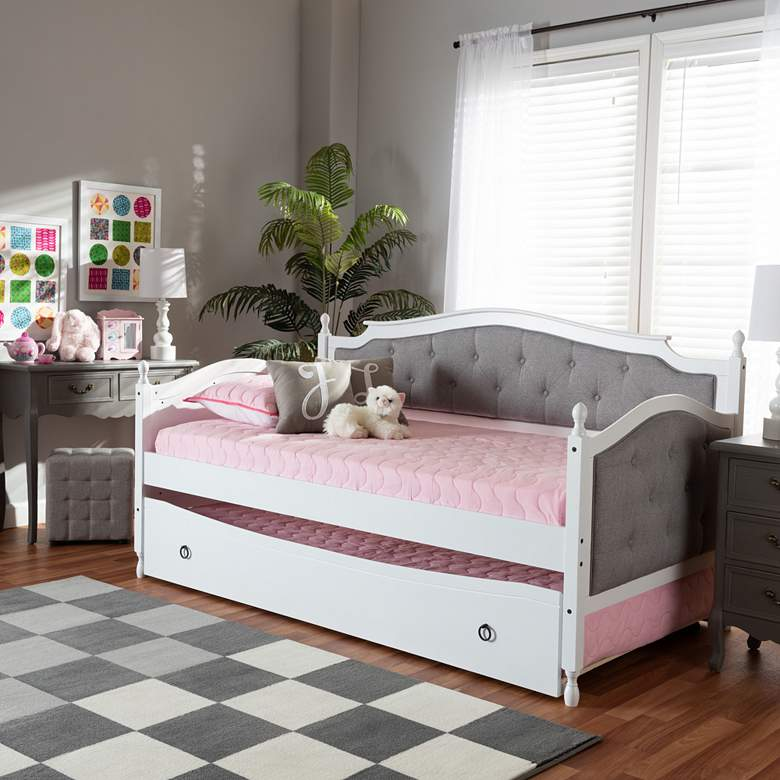 Baxton Studio Marlie White Twin Daybed w/ Roll-Out